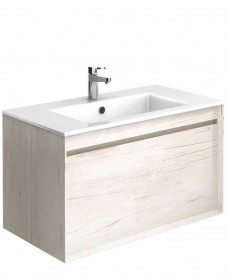 Regine Light Wood 80 cm Wall Hung Vanity Unit and Basin