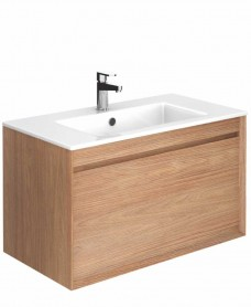 Regine Walnut 80 cm Wall Hung Vanity Unit and Basin