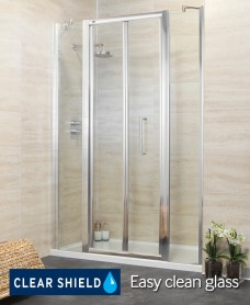 Rival 1500 Bifold Shower Door with Two Infill Panels - Adjustment 1440-1500mm