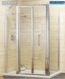 Rival 1200 Bifold Shower Door with Single Infill Panel & 760 mm Side Panel