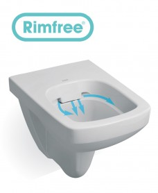 Twyford E100 Square Wall Hung Rimfree® Toilet with Soft Close Seat
