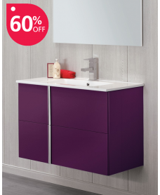 Athena Aubergine 60cm Vanity Unit 2 Drawer and Sink - *60% Off