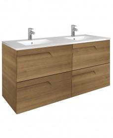 Pravia Walnut 120cm Vanity Unit 4 Drawer and Totano Twin Basin