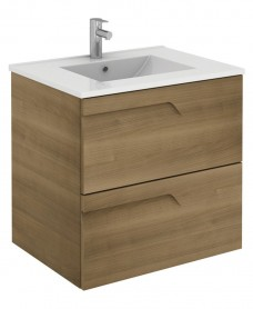 Pravia Walnut 60cm Vanity Unit 2 Drawer and Totano Basin