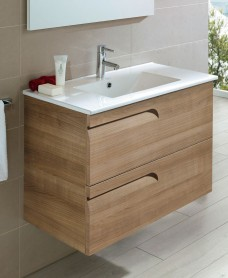 Pravia Walnut 80cm Vanity Unit 2 Drawer and Totano Basin