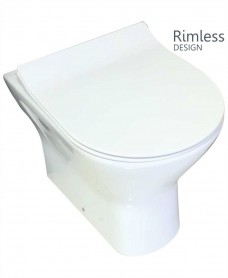 RAK Resort Back To Wall Rimless Pan & SLIM Soft Close Seat