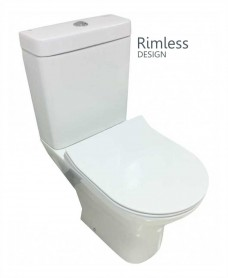 RAK Resort Close Coupled Rimless Toilet & SLIM Soft Close Seat