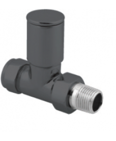 Radiator Valves Anthracite Round Straight (Set of 2)