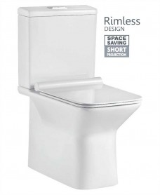 Salena Fully Shrouded Close Coupled Rimless WC with SLIM Quick Release Soft Closing Seat