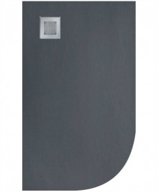 Slate 1200x800 Offset Quadrant Shower Tray LH  Anthracite - Anti Slip