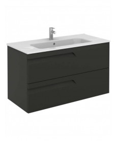 Pravia Gloss Grey 100 cm Wall Hung Vanity Unit and SLIM Basin