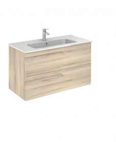 Pravia Natural Beige 100 cm Wall Hung Vanity Unit and SLIM Basin