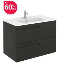 Pravia Gloss Grey 80 cm Wall Hung Vanity Unit and SLIM Basin - 60% off