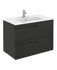 Pravia Gloss Grey 80 cm Wall Hung Vanity Unit and SLIM Basin