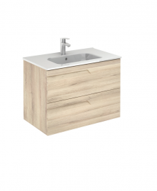 Pravia Natural Beige 80 cm Wall Hung Vanity Unit and SLIM Basin