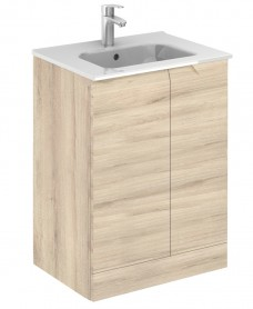 Pravia Natural Beige 60 cm Floor Standing Vanity Unit and SLIM Basins