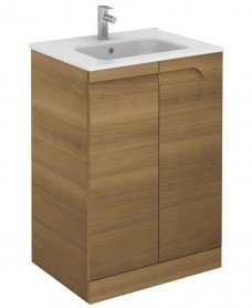 Pravia Walnut 60 cm Floor Standing Vanity Unit and SLIM Basins
