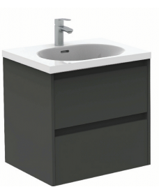Sparta Gloss Grey 60cm Vanity Unit 2 Drawer & Idea Basin