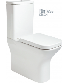 Sara Comfort Height Fully Shrouded RIMLESS Toilet and Soft Close Seat