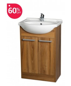 Crete Walnut 55cm Unit, Basin & Tap & Waste - ** FURTHER REDUCTION