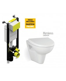 Prato RIMLESS Wall Hung Toilet & Soft Close Seat with Fastfix Frame
