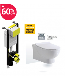 Antonia Rimless Wall Hung Toilet with SLIM Quick Release Soft Close Seat with Fastfix Frame- **A Further 10% Off with Code JAN10