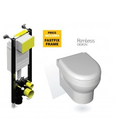 Miami Wall Hung RIMLESS Toilet with Soft Close Seat with Fastfix Frame