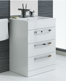Naturo 60cm 3 Drawer White Vanity Unit - ** 60% Off