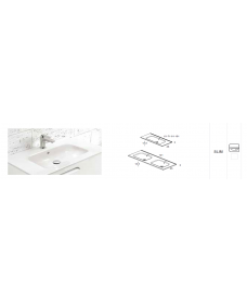 Vichy Gloss White 100 cm Slim Basin Only