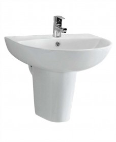 Veronica 55 cm Basin and Semi Pedestal 1 Tap Hole