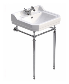 Norbury 55cm Wash Basin & Chrome Washstand, 1 tap hole