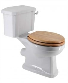 Sussex Traditional Close Coupled Toilet & Oak MDF Soft Close Seat