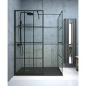 Apura Black Trellis 700mm Wetroom Panel, Adjustment Min - Max 670 - 690mm