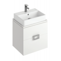 Ava White 55 cm Wall Hung Vanity Unit and BROOK Countertop Basin