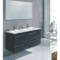 Pravia Gloss Grey 120 cm Wall Hung Double Vanity Unit and SLIM Basin - ** 60% Off
