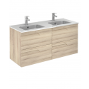 Pravia Natural Beige 120 cm Wall Hung Double Vanity Unit and AIDA Basins