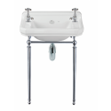 Norbury 55cm Wash Basin & Chrome Washstand, 2 Tap Hole