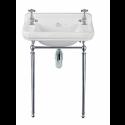 Norbury 61cm Wash Basin & Chrome Washstand, 2 Tap Hole
