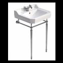 Norbury 61cm Wash Basin & Chrome Washstand, 1 tap hole