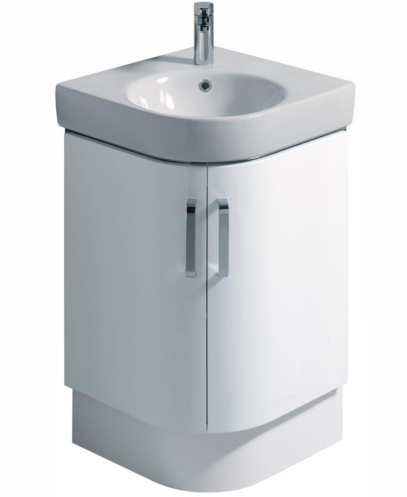 e200 500 white corner vanity unit floor standing. Black Bedroom Furniture Sets. Home Design Ideas