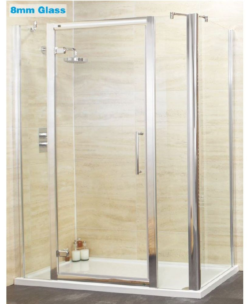 Rival 8mm 1400 hinge shower door with double infill panel for 1400 shower door