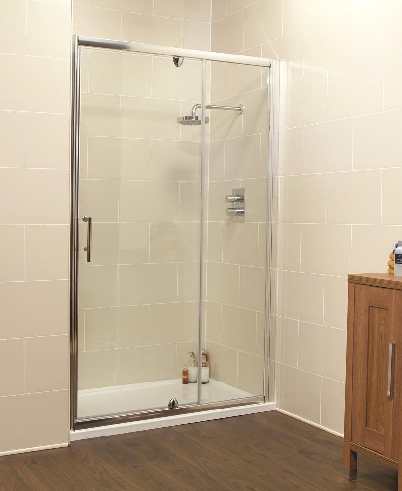 Kyra range 1200 pivot inline shower enclosure for 1200 shower door hinged