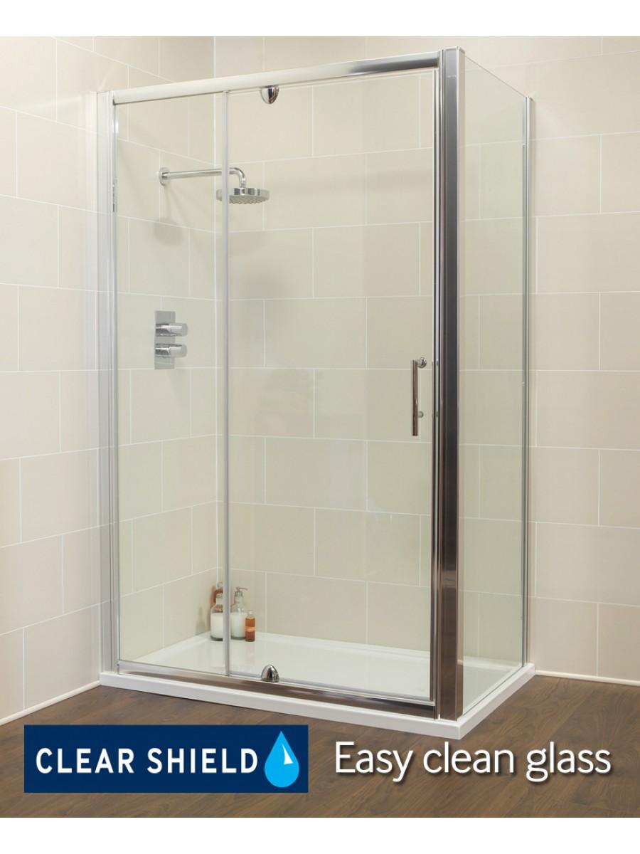 Kyra 1200 x 900mm pivot inline shower door for 1200 shower door