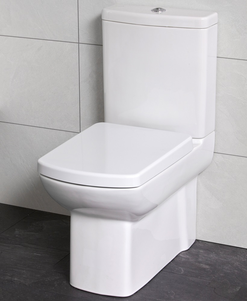 zara fully shrouded close coupled toilet with soft close seat. Black Bedroom Furniture Sets. Home Design Ideas