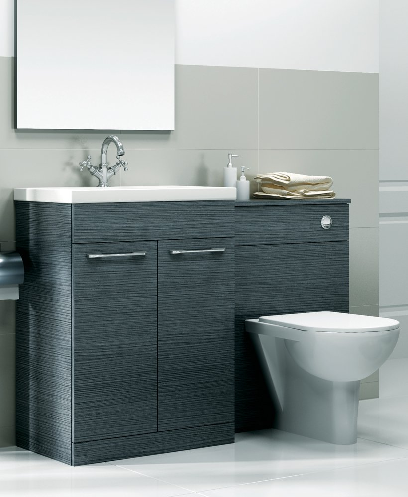 Paola grey slimline 60cm combination unit 2 door - Bathroom combination vanity units ...